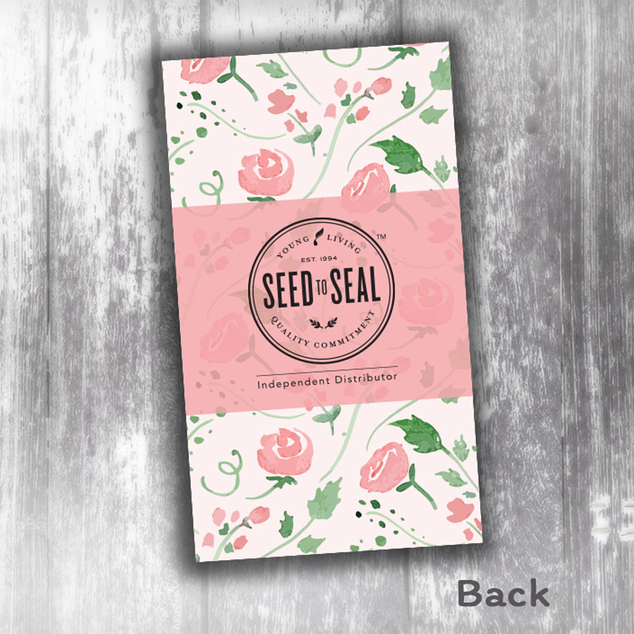 Young Living Business Card Rose Vertical Linen Oily Cards
